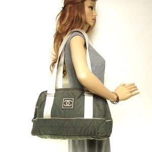 Auth Chanel Olive Nylon Shoulder Bag #1947C23